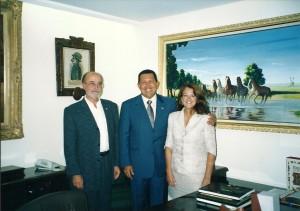 En Miraflores, con Hugo Chávez y Alicia Castro. Septiembre de 2002